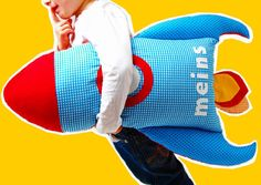 Kissen Rakete // Rocket pillow for kids by josefines-kinder via DaWanda.com