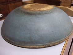 Old Large Wood Dough Bowl in Light Blue Paint aafa