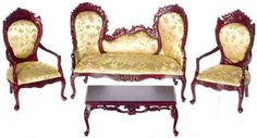 victorian doll house living room furntiure | Victorian Living Room Set 4pcs, Bespaq, Dollhouse Miniature Furniture