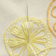 Citrus Slices: 1) stem stitch an outer circle; 2) chain stitch just inside the stem stitch; 3) stem stitch 8-10 segments evenly spaced in the circle; 4) starting from the point of each segment stitch two long chains on the LHS finishing just inside the top edge repeat this on the RHS then fill the middle with additional chain stitches; and 5) complete all the segments in the same manner. Note: that there are three tones of a single colour for each slice.