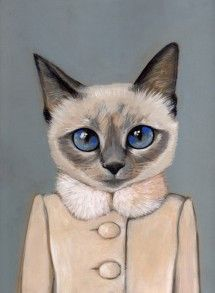 Violet - A Cat in Clothes - Fine Art Giclee Print - I want any and all of the cats in clothes prints by Heather Mattoon.