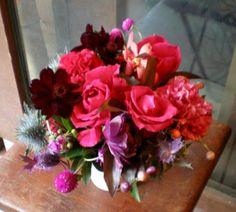 チョコ・ファッション☆誕生日結婚祝いお見舞いビジネス開店改築新築お祝いなどに季節のお花をお使いしたアレンジメントをお薦めいたします!!