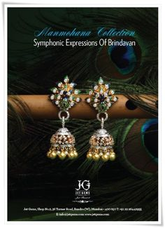 """Jet Gem's gorgeous and stunning peacock designed Jhumkas get featured in November 2014 Ad in Vogue"". #JetGems #exclusive #designer #stylish #colorful #jewelry#JetGems #beautiful #elegant #exquisite #style #stylish #design #designer #ornaments #diamond #earrings #instapic #instalike #instalove"