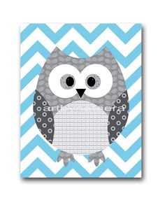 Would like this in yellow/white chevron with gray owl -  Owl Decor Owl Nursery Baby Nursery Decor Baby  by artbynataera, $14.00
