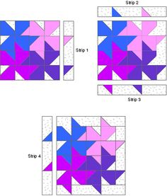 Tessellating pinwheels Free pattern &  Block Assembly Diagrams