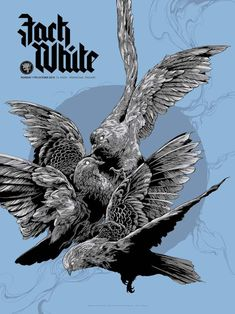 New Concert Posters for The Avett Brothers and Jack White by Ken Taylor (Onsale Info) - Dr Wong - Emporium of Tings. Omg Posters, Band Posters, Music Posters, Ken Taylor, Jacky Winter, Pop Culture Art, Geek Culture, Bird Artwork, Jack White