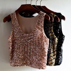 Sexy Women Vest Tank Crop Top Blouse Shirt Tee Sequin Sleeveless Party