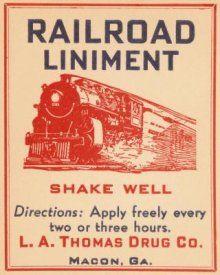 Vintage Booze Labels - Railroad Liniment