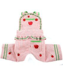 Summer Apples Embroidered Jumper Overalls - Red/Lime Green