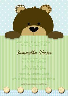 bear baby shower invites | ... Bear Baby Shower Invitation for Boy or Girl, ... | Teddy bear p