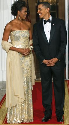 Celebrating modern style icon Michelle Obama, seen here with her husband (the POTUS). Look at her confidence and poise! She wears all her clothes with such grace, and she sets a wonderful example for women today.