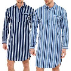 Mens-Traditional-Nightshirt-Flannel-PJ-Pyjama-Night-Shirt-Wear-Pyjamas-Cotton