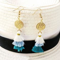 Τριπλά φουντακια Tassel Necklace, Earrings, Jewelry, Fashion, Ear Rings, Moda, Stud Earrings, Jewlery, Jewerly