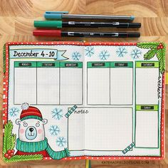 Bullet journal weekly page by Kate Hadfield – artsy bujo layouts and ideas!