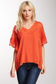 Silk Embroidered Poncho Top by Blue Tassel on @HauteLook