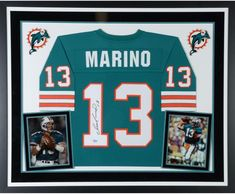 59ad278c6 Dan Marino Miami Dolphins Deluxe Framed Autographed Mitchell & Ness Teal  Replica Jersey - Authentic Signed