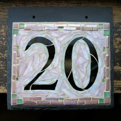 Mosaic House Number on Slate 2 Digit by nutmegdesigns on Etsy Roman Fonts, House Plaques, Pink Houses, House Numbers, Home Signs, Cladding, Mosaic Glass, Colored Glass, House Colors