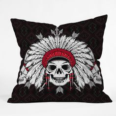 Chobopop Geometric Indian Skull Outdoor Throw Pillow | DENY Designs Home Accessories