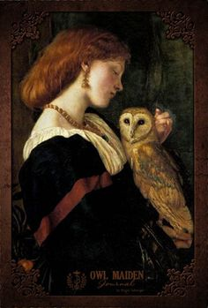 """Owl Maiden Blank Book - Cover art is """"The Owl"""" by the pre-Raphaelite artist Valentine Cameron Princep. The scene depicts a gentle moment of affection between a woman and her winged companion. The journal itself is a 6"""" by 9"""" softbound book with 200 pages. The pages are lined on the front, and plain on the reverse, so that you can fill the book with all your thoughts, words and sketches. Made in the USA."""
