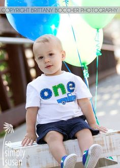 Boy's ONE birthday shirt. Little Blue Truck by SoSimplySusan, $27.00