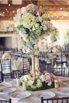 Gorgeous wedding centerpieces in green and pink ,chic wedding centerpieces ideas | I take you - UK wedding blog #centerpieces