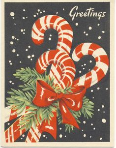 VINTAGE 1940'S/50'S CHRISTMAS GREETING CARD - BEAUTIFUL CANDY CANES! | eBay