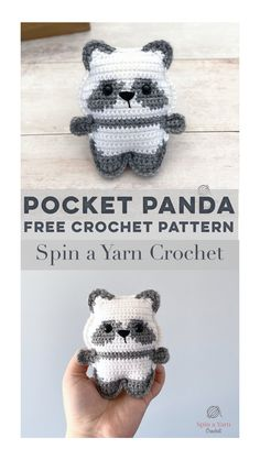A free crochet pattern from Spin a Yarn Crochet The Pocket Panda is the latest edition to the crochet Pocket Pet amigurumi series! Check out this sweet adaption to the Pocket Bear pattern. Crochet Panda, Kawaii Crochet, Crochet Gratis, Crochet Bear, Crochet Patterns Amigurumi, Cute Crochet, Crochet Animals, Crochet Dolls, Knitting Patterns