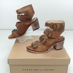 Freebird By Steven Quail Leather Open Toe Sandal 8 M Buckle #Freebird #Sandal