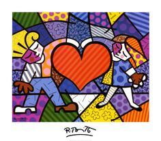 block/stained glass style, bold colors, 2 kids & a heart, family heart