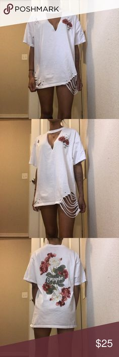 Distressed T-Shirt mini dress Custom made T-shirt mini dress -- not LF [can be distressed more if you would like just let me know! ] LF Dresses Mini workout T-shirt Diy Fashion, Fashion Outfits, Fashion Ideas, Rave Shirts, Cut Up Shirts, Diy Summer Clothes, Custom Made T Shirts, Mini Shirt Dress, T Shirt Diy