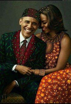 President Barack Obama and First Lady Michelle Obama African Girl, African Beauty, African Dress, African Fashion, African Attire, My Black Is Beautiful, Black Love, Beautiful Couple, Beautiful Artwork