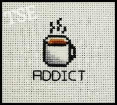 Coffee Addict Printable Cross Stitch Pattern by ThatsSewEllie.