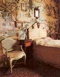 """This was the bedroom Tsar Nicholas ll of Russia used during his 1909 visit of Italy.Located at Racconigi Castle,the summer palace of King Emanuele lll and Queen Elena.The Tsar's bedroom has been preserved and is now called the Tsar's Room.Located in the Chinese Apartment. """"AL"""" Summer Palace, Tsar Nicholas, Palaces, Russia, Castle, Chinese, Italy, King, Queen"""