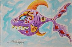 Purple FishOriginal Water color by ErikaJohnsonGallery on Etsy, $56.00