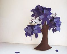 Lilac Weeping willow with a family of owls  Felt Tree by Intres