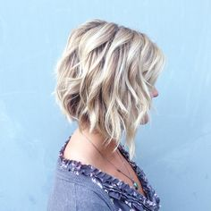 Tapered wavy bob hairstyle