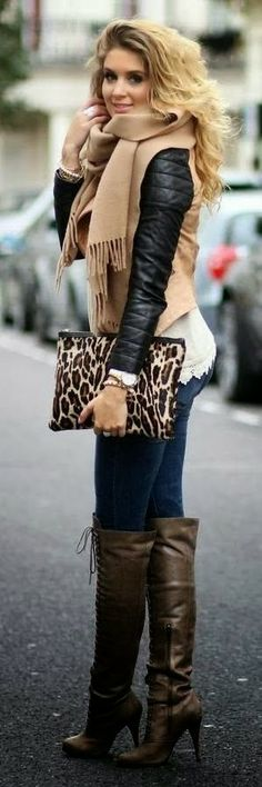 Wild Style With Long Leather Boots and Leapord Print Purse.
