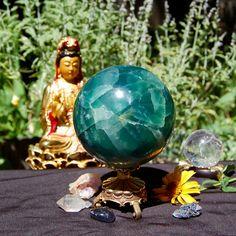 "HUGE Green Fluorite Crystal Ball, Healing Stone, Sphere, 3.25"" WIde, 912 Grams, Aqua Crystal Ball, Orb, Globe, Receive EXACT Crystal Sphere"