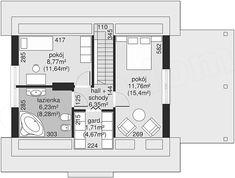 Rzut poddasza projektu Dom przy Imbirowej Dom, Floor Plans, Two Story Houses, Floor Plan Drawing, House Floor Plans