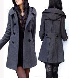 Women's woolen outerwear hooded coat hooded outerswear double breasted woolen overcoat female thick winter wool overcoat women $38.56