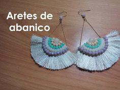 (7) Como hacer aretes en forma de abanico - YouTube Diy Macrame Earrings, Macrame Jewelry, Beaded Earrings, Wire Jewelry, Crochet Earrings, Handmade Jewelry Tutorials, Thread Jewellery, Macrame Tutorial, Beading Patterns