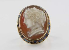 Antique Victorian Carved Cameo Ring Set In 14k Yellow Gold And Blue Enamel   c.1880's-1900's