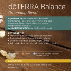 Having balance in my life is so important to me, and one of the ways I achieve that is through the use of essential oils. And what better oil than the Balance blend! It's a unique blend of Spruce Needle/Leaf, Ho Wood, Frankincense Resin, Blue Tansy Flower, and Blue Chamomile Flower essential oils along with a base of Fractionated Coconut Oil, create a calming sense of tranquility.  www.hayleyhobson.com