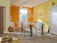 Mit diesen sonnigen Farben startet man doch gerne in den Tag. #OBI #Wandfarbe  #Gelb #Orange #Esszimmer #Raumgestaltung #sonnig