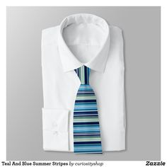 Teal And Blue Summer Stripes Neck Tie Summer Stripes, Neckties, Suit And Tie, All The Colors, Light Blue, Teal, Nice, Pattern, How To Make