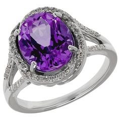 Lord & Taylor Amethyst, Diamond and Sterling Silver Ring ($850) ❤ liked on Polyvore featuring jewelry, rings, purple, amethyst jewelry, purple jewelry, sterling silver jewelry, fine jewelry and engagement rings