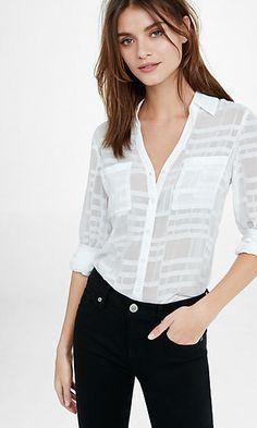 slim fit sheer white plaid portofino shirt