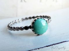 Sterling Silver Genuine Turquoise Stacking Hammered by RusTiqueAge