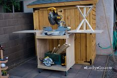 When I built the shed , I knew that I would have to build something to put my miter saw on so that I could easily pull it out of the shed (i...