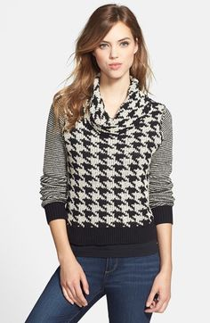 Free shipping and returns on Lucky Brand Houndstooth Cowl Neck Sweater at Nordstrom.com. Slim stripes at the long sleeves create visual dimension for a houndstooth-patterned sweater topped with a slouchy cowl neckline and cut for a short, fitted silhouette. Contrast ribbing grounds the graphic style.